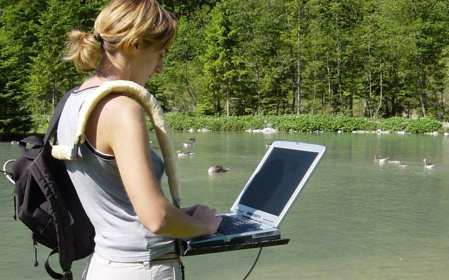 Claudia Wascher bei der Datennahme