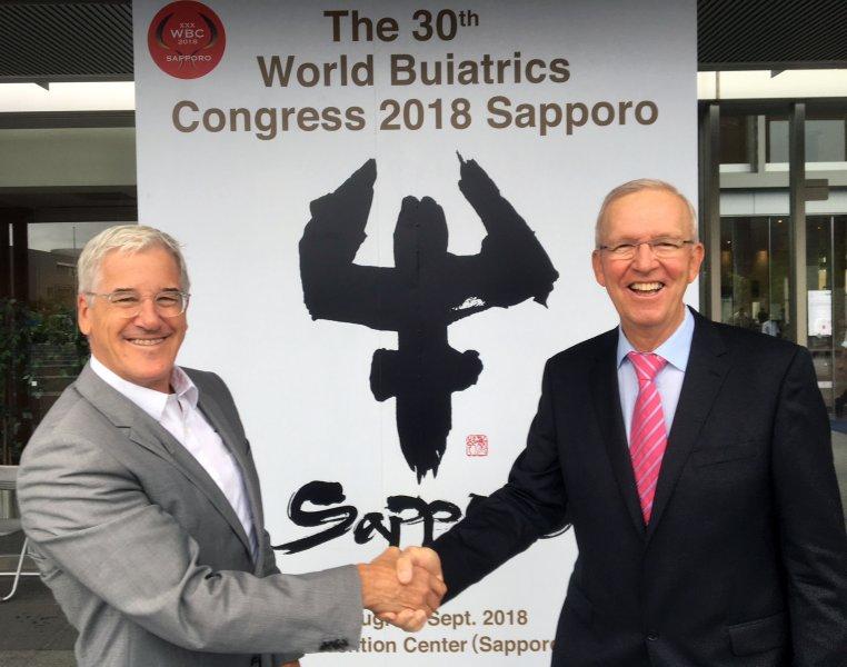 : Präsident und Ehrenpräsident der World Association for Buiatrics (WAB): Dr. Emile Bouchard (Canada) und Prof. W. Baumgartner (Austria)