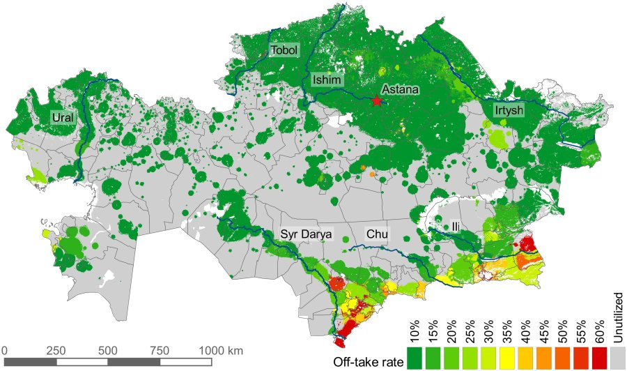 Distribution of grazing intensity in Kazakhstan for the year 2015