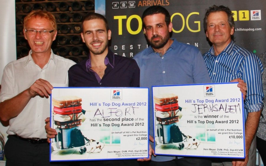 Winners from veterinary schools in Jerusalem and France receive their �Top Dog´ prizes from Hill´s Pet Nutrition - left to right: Dr. Michel Meunier, Mr. Pierre Fabing, Mr. Gili Savariego, Dr. Hein Meyer