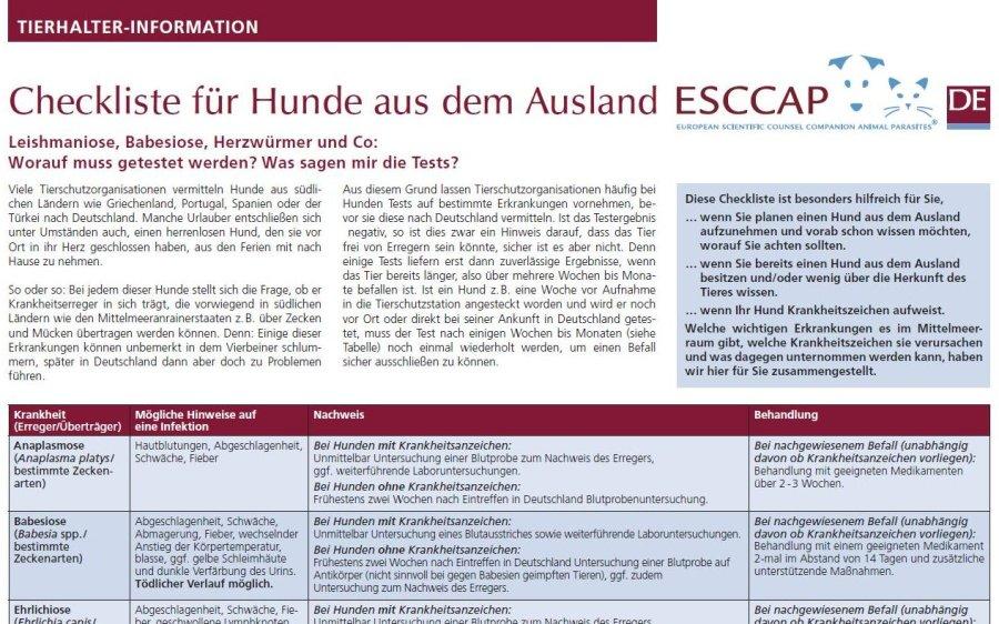 Neue ESCCAP-Checkliste für Hunde aus dem Ausland